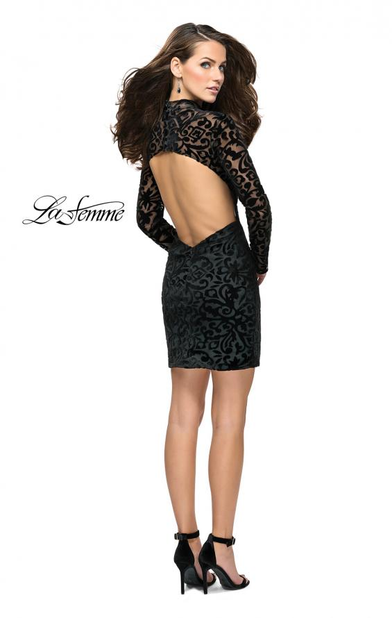 Picture of: Velvet Black Homecoming Dress with Burnout Detail, Style: 26631, Detail Picture 3