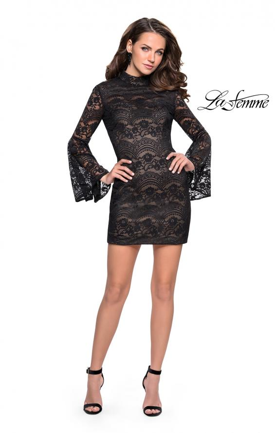 Picture of: Lace Bell Sleeve Homecoming Dress with High Neckline, Style: 26668, Detail Picture 3