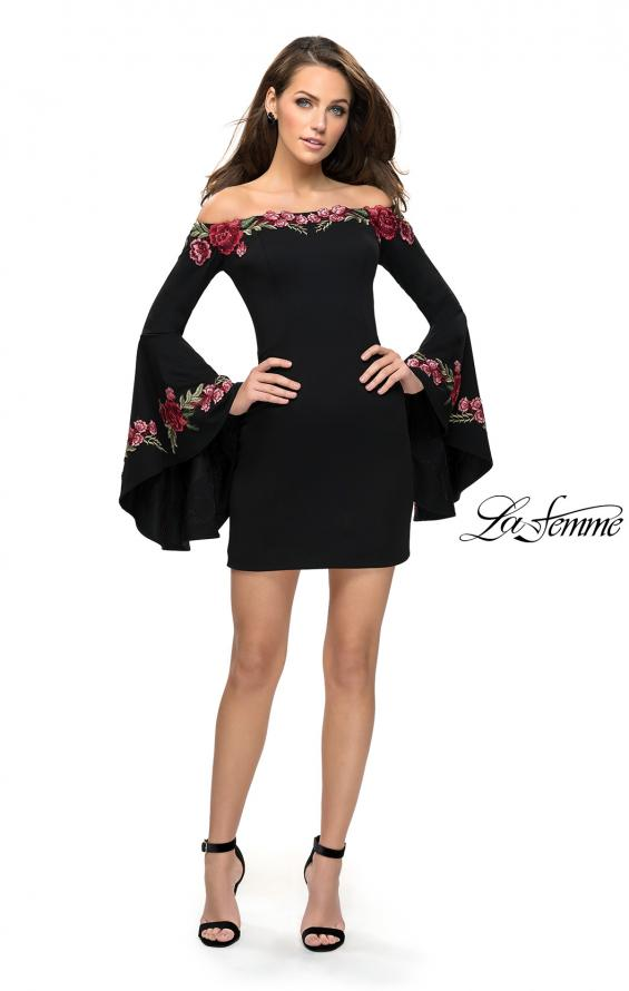 Picture of: Off the Shoulder Mini Dress with Dramatic Bell Sleeves, Style: 26674, Detail Picture 3