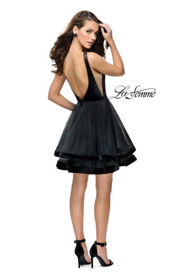Picture of: Velvet and Tulle Two Piece Set with Pockets and Open Back in Black, Style: 26701, Detail Picture 3