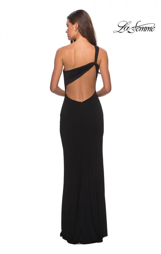 Picture of: One Shoulder Dress with Ruching and Leg Slit in Black, Style: 28135, Detail Picture 3