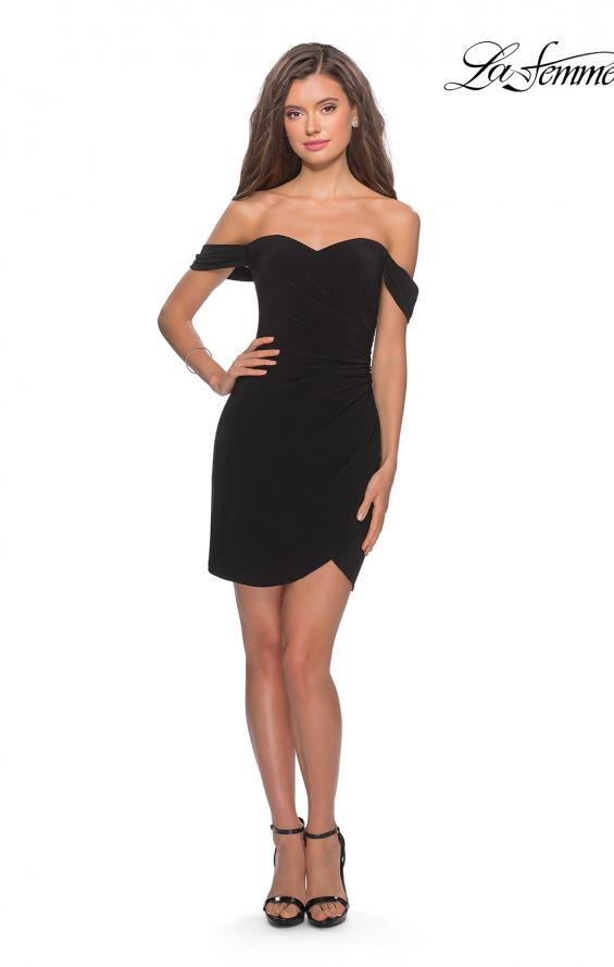 Picture of: Short Dress with Scalloped Off The Shoulder Sleeves in Black, Style: 28193, Detail Picture 3