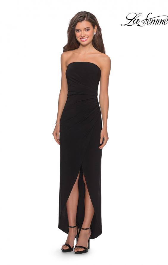 Picture of: Long Strapless Jersey Dress with Side Ruching in Black, Style: 28204, Detail Picture 3