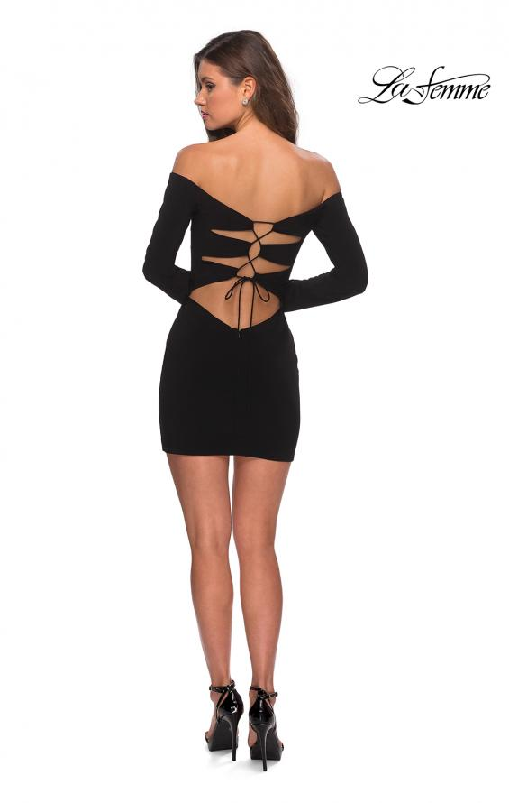 Picture of: Off The Shoulder Long Sleeve Dress with Lace Up Back, Style: 28212, Detail Picture 3