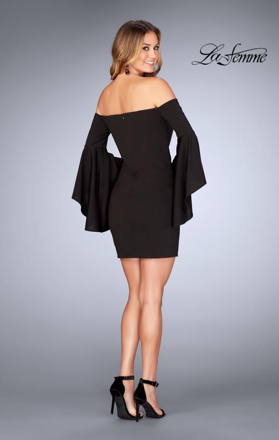 Picture of: Off the Shoulder Ruffle Sleeve Homecoming Dress in Black, Style: 25033, Detail Picture 4