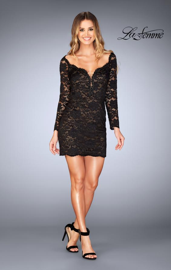 Picture of: Long Sleeve Lace Dress with Deep V Neckline in Black, Style: 25038, Detail Picture 4