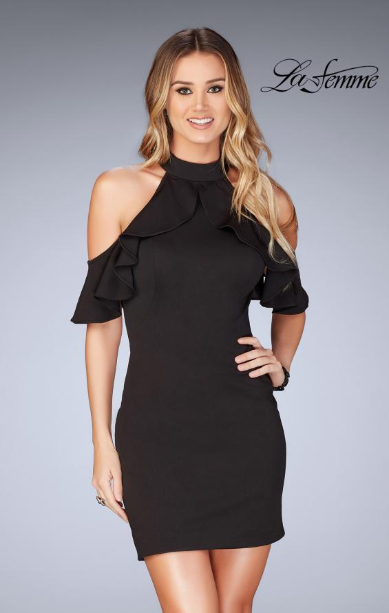 Picture of: Ruffle Halter Top Dress with Tight Jersey Skirt, Style: 25147, Detail Picture 4