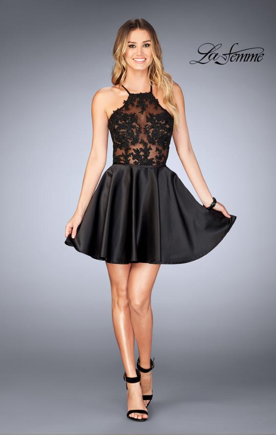Picture of: Sheer Illusion Dress with Scattered Lace and Short Skirt in Black, Style: 25202, Detail Picture 4