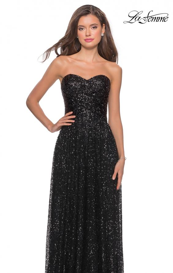 Picture of: Long Sequined Dress with Sweetheart Neckline in Black, Style: 27879, Detail Picture 4