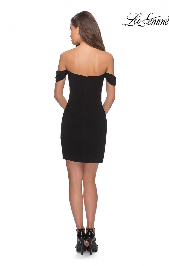 Picture of: Short Dress with Scalloped Off The Shoulder Sleeves in Black, Style: 28193, Detail Picture 4