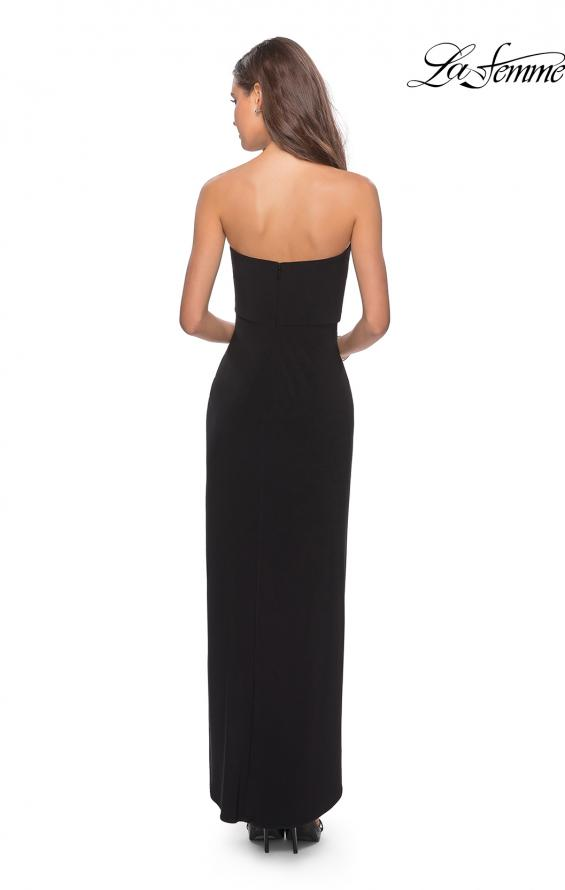 Picture of: Long Strapless Jersey Dress with Side Ruching in Black, Style: 28204, Detail Picture 4