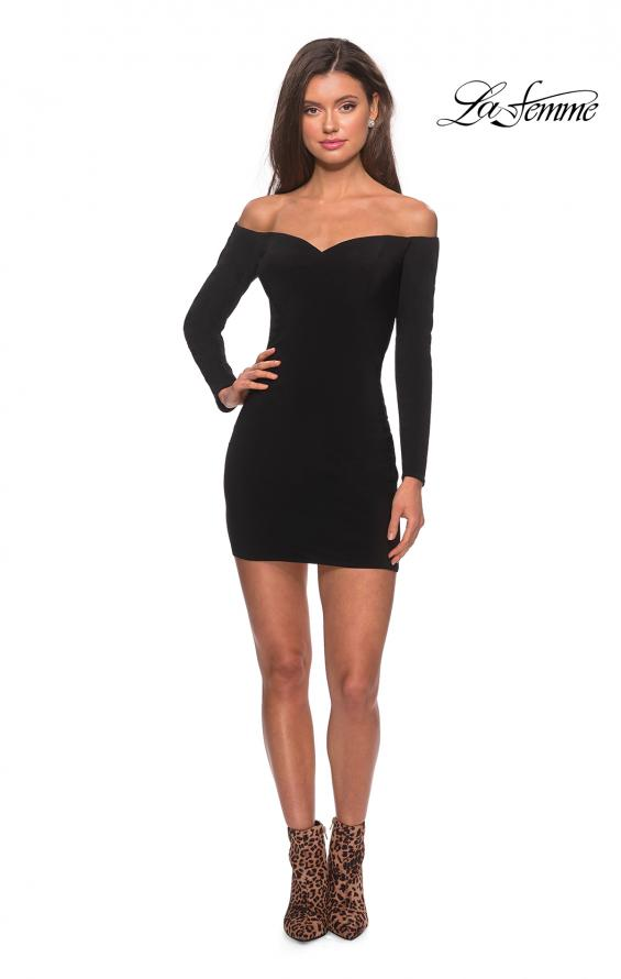 Picture of: Off The Shoulder Long Sleeve Dress with Lace Up Back, Style: 28212, Detail Picture 4