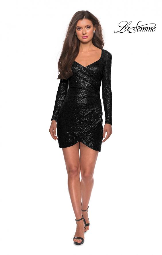 Picture of: Long Sleeve Sequin Dress with Side Ruching in Black, Style: 28219, Detail Picture 4
