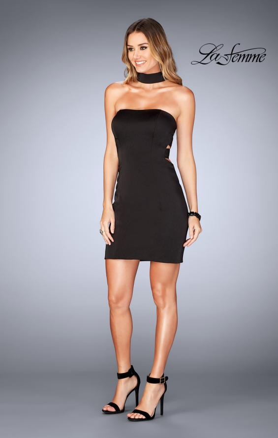 Picture of: Tight Jersey Homecoming Dress with Attached Choker, Style: 25062, Detail Picture 5