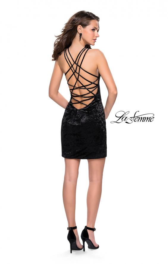 Picture of: High Neck Short Velvet Dress with Criss Cross Back Straps, Style: 26663, Detail Picture 5