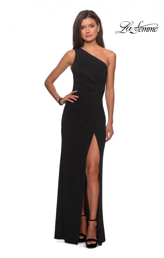 Picture of: One Shoulder Dress with Ruching and Leg Slit in Black, Style: 28135, Detail Picture 5