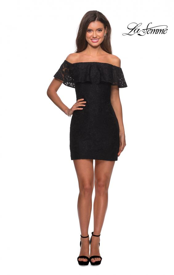 Picture of: Off The Shoulder Form Fitting Lace Party Dress in Black, Style: 28147, Detail Picture 5