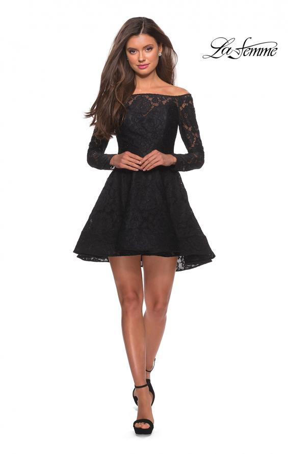 Picture of: Short Lace Dress with Off The Shoulder Long Sleeves in Black, Style: 28175, Detail Picture 5