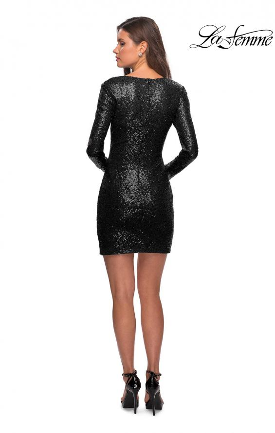 Picture of: Long Sleeve Sequin Dress with Side Ruching in Black, Style: 28219, Detail Picture 5
