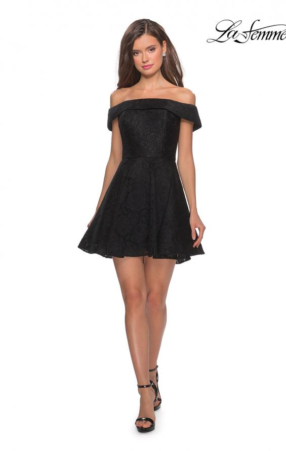 Picture of: Off the Shoulder Lace Fit and Flare Homecoming Dress in Black, Style: 28122, Detail Picture 6