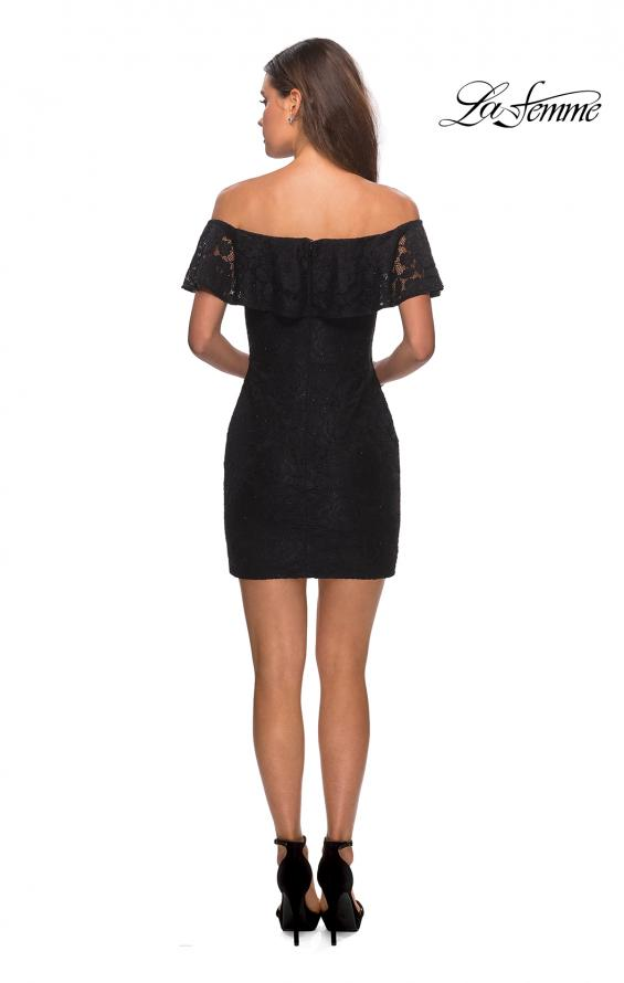 Picture of: Off The Shoulder Form Fitting Lace Party Dress in Black, Style: 28147, Detail Picture 6