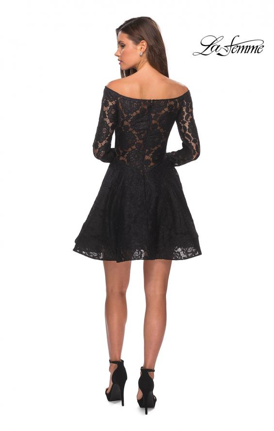 Picture of: Short Lace Dress with Off The Shoulder Long Sleeves in Black, Style: 28175, Detail Picture 6