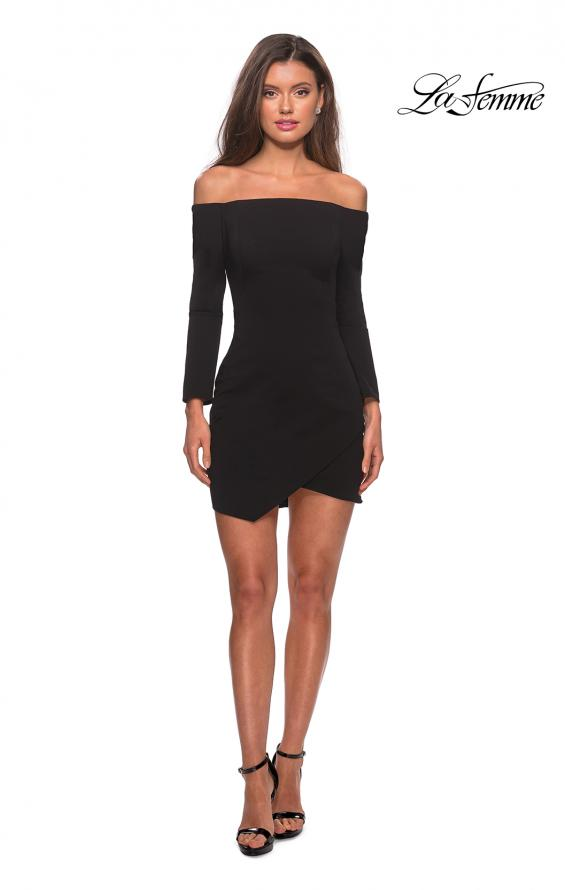 Picture of: Tight Homecoming Dress with Long Sleeves in Black, Style: 28182, Detail Picture 6