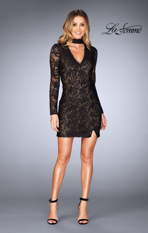 Picture of: Long Sleeve Short Lace Dress with Choker in Black, Style: 25373, Detail Picture 7
