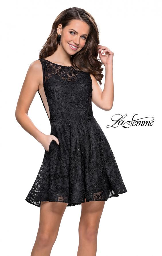 Picture of: Lace Short Dress with Rhinestones and Pockets in Black, Style: 26616, Detail Picture 7