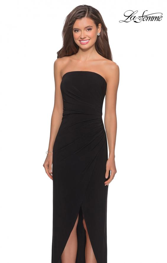 Picture of: Long Strapless Jersey Dress with Side Ruching in Black, Style: 28204, Detail Picture 7
