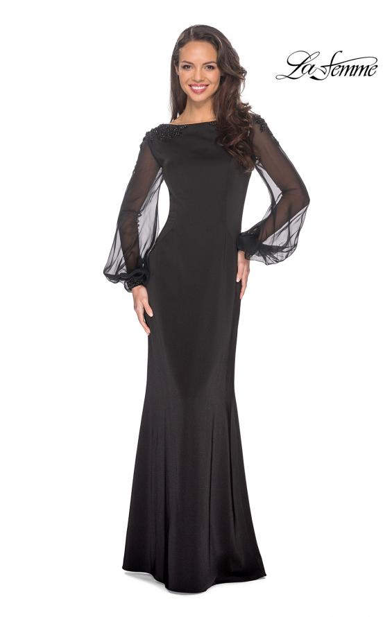Picture of: Long Black Gown with Sheer Long Sleeves and Beading in Black, Style: 25045, Main Picture