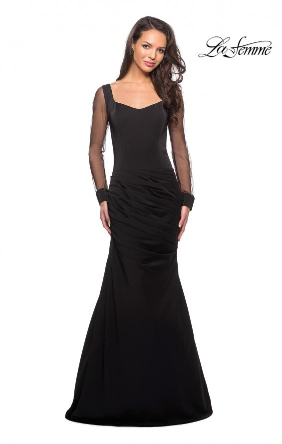 Picture of: Long Jersey Gown with Sheer Long Sleeves and Ruching in Black, Style: 25064, Main Picture