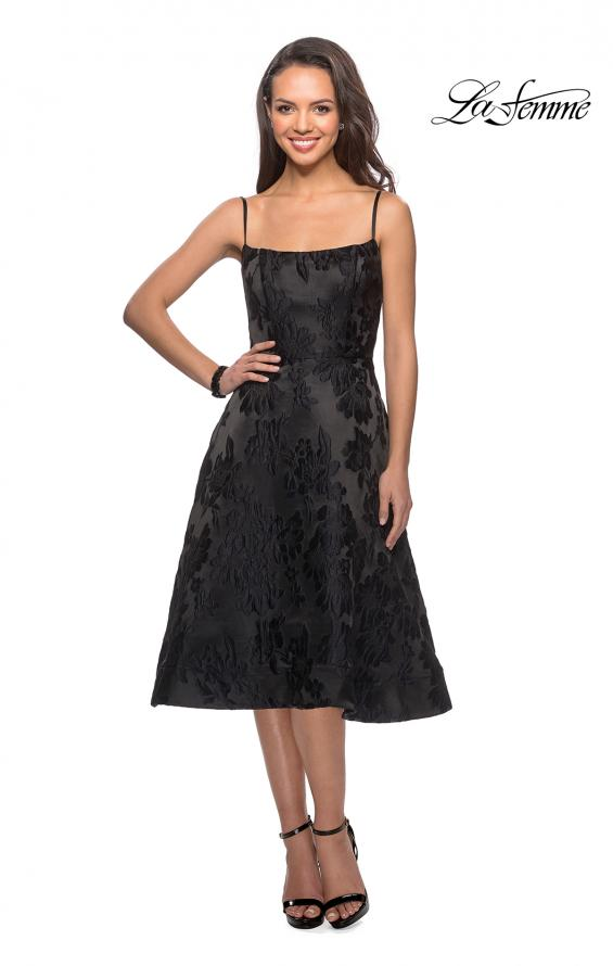 Picture of: Tea Length Lace Dress with Spaghetti Straps in Black, Style: 27748, Main Picture