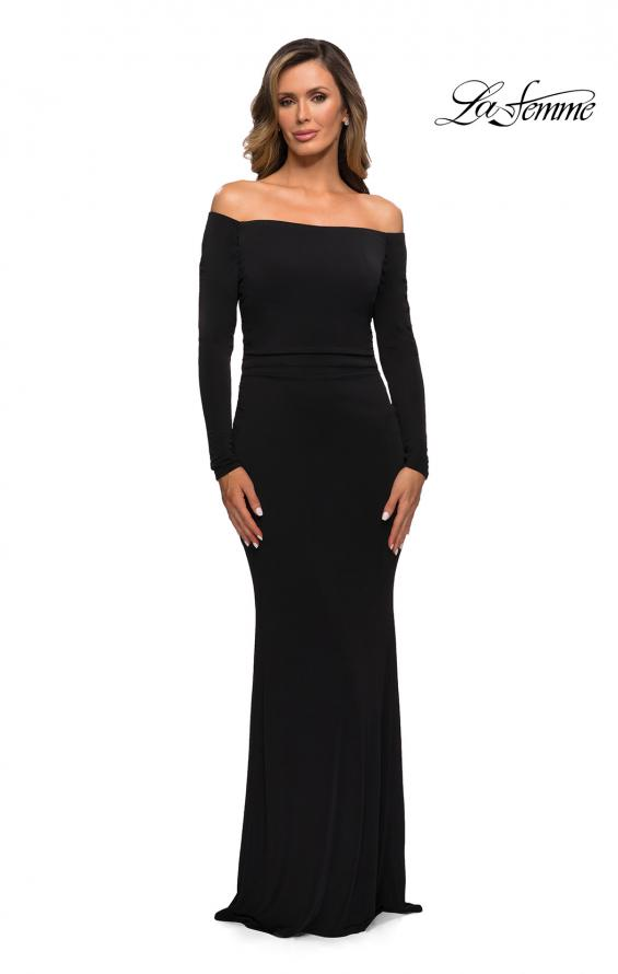 Picture of: Long Sleeve Off The Shoulder Jersey Evening Gown in Black, Style: 28054, Main Picture