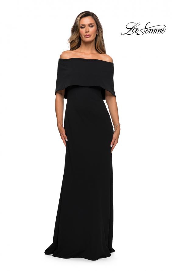 Picture of: Off the Shoulder Jersey Gown with Column Skirt in Black, Style: 28209, Main Picture