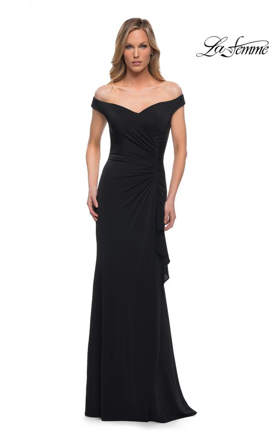 Picture of: Off the Shoulder Ruched Jersey Gown in Black, Main Picture
