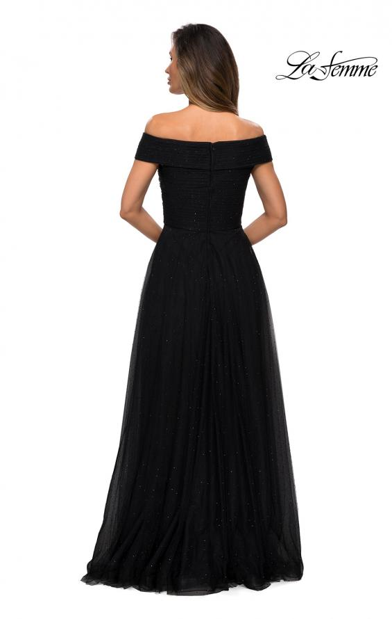 Picture of: Tulle Off the Shoudler A-line Dress with Rhinestones in Black, Style: 28051, Detail Picture 8