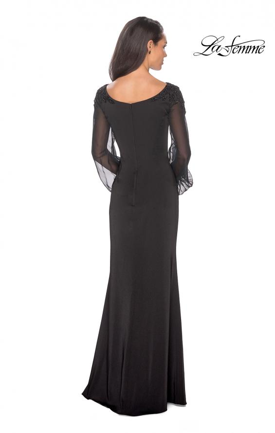 Picture of: Long Black Gown with Sheer Long Sleeves and Beading in Black, Style: 25045, Back Picture