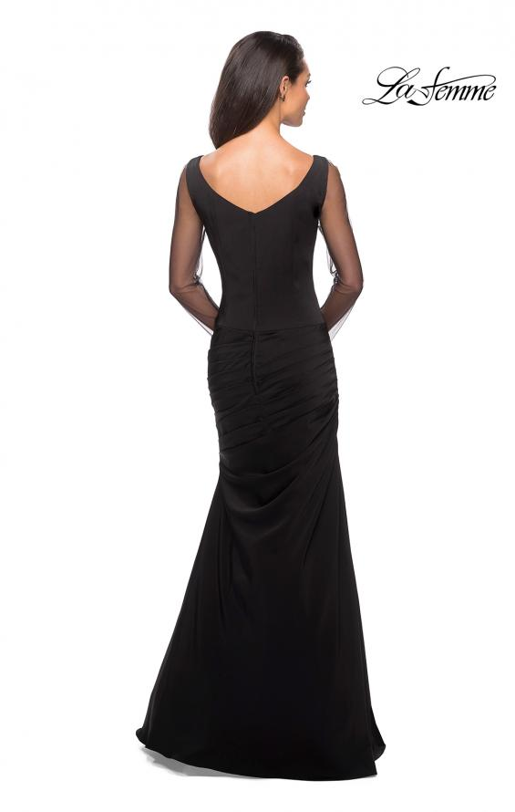 Picture of: Long Jersey Gown with Sheer Long Sleeves and Ruching in Black, Style: 25064, Back Picture