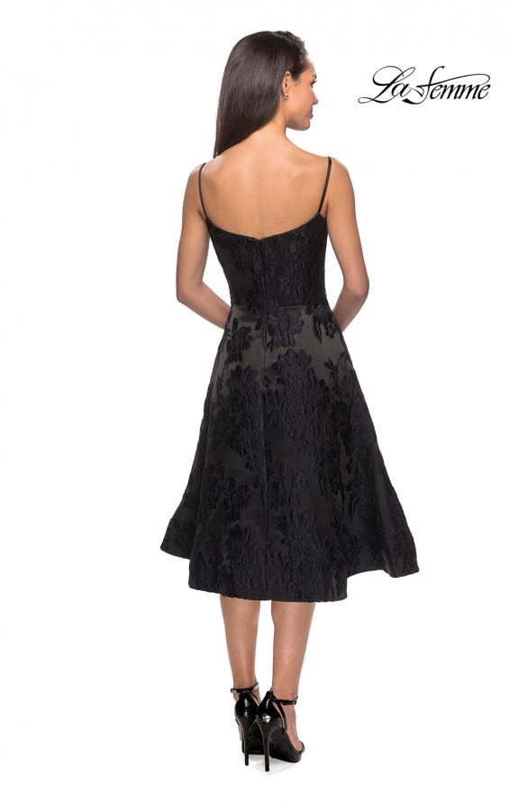 Picture of: Tea Length Lace Dress with Spaghetti Straps in Black, Style: 27748, Back Picture