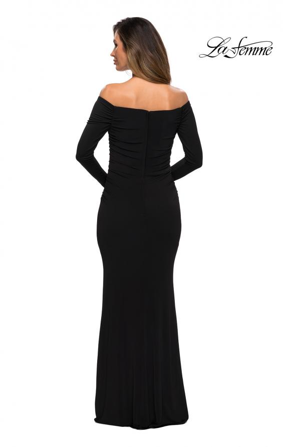 Picture of: Long Sleeve Off The Shoulder Jersey Evening Gown in Black, Style: 28054, Back Picture