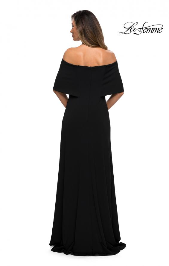Picture of: Off the Shoulder Jersey Gown with Column Skirt in Black, Style: 28209, Back Picture