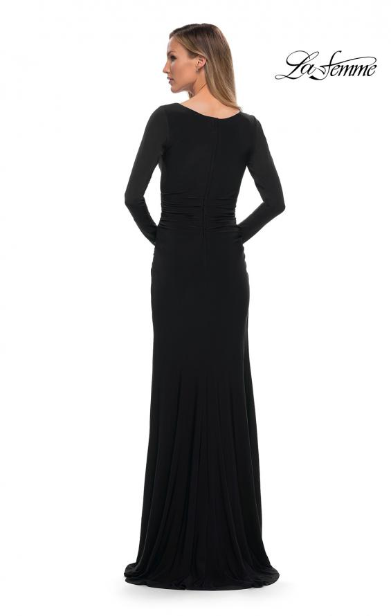 Picture of: Long Sleeve Jersey Evening Dress with Ruching in Black, Back Picture