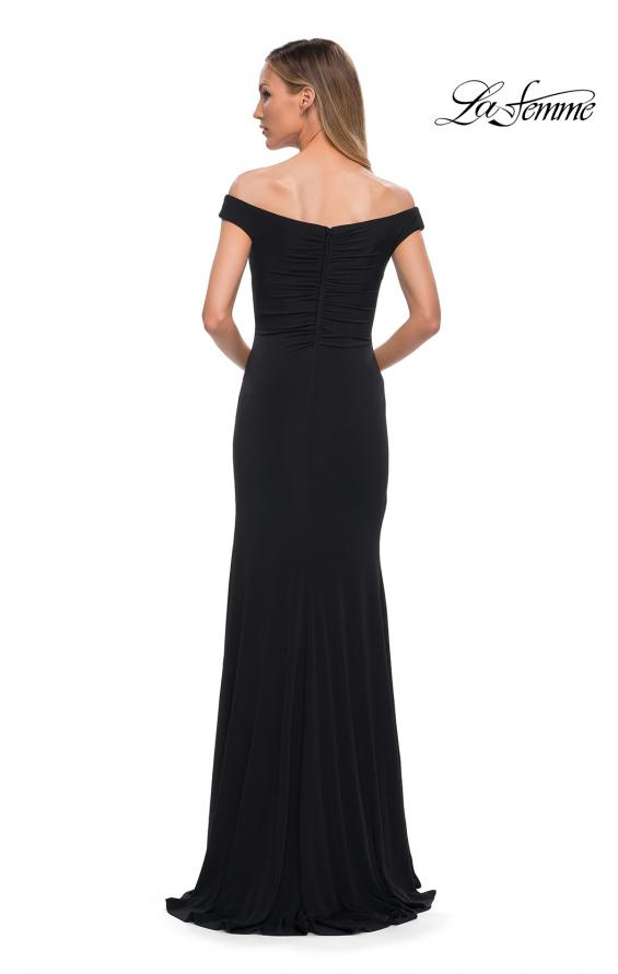 Picture of: Off the Shoulder Ruched Jersey Gown in Black, Back Picture