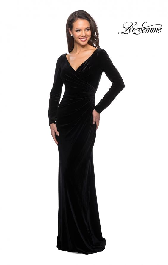 Picture of: Elegant Long Sleeve Velvet Dress with Ruching in Black, Style: 25207, Detail Picture 1