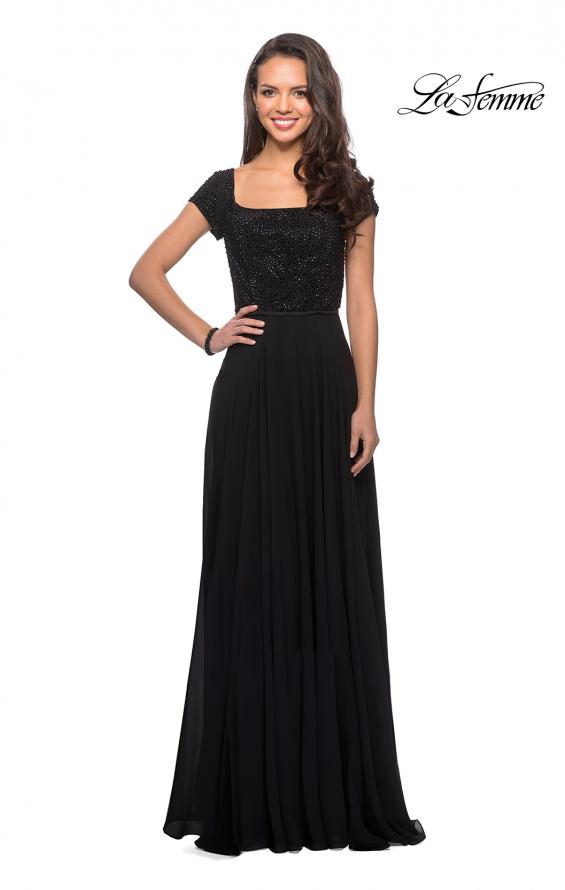 Picture of: Short Sleeve Long Gown with Beaded Bodice, Style: 26512, Detail Picture 1