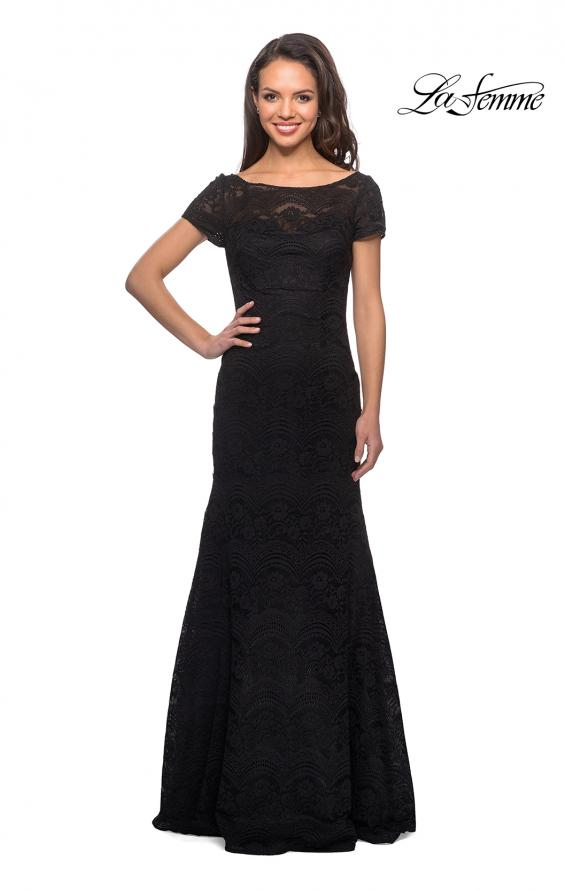 Picture of: Floor Length Lace Gown with Short Sleeves in Black, Style: 26875, Detail Picture 1