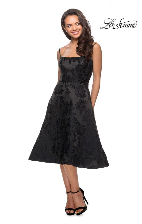 Picture of: Tea Length Lace Dress with Spaghetti Straps in Black, Style: 27748, Detail Picture 1