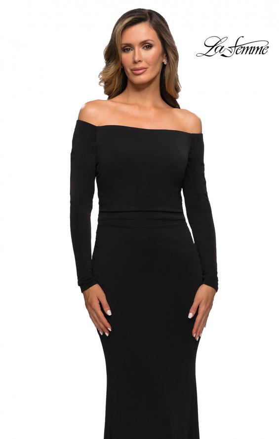 Picture of: Long Sleeve Off The Shoulder Jersey Evening Gown in Black, Style: 28054, Detail Picture 1
