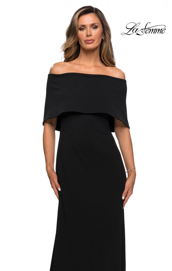 Picture of: Off the Shoulder Jersey Gown with Column Skirt in Black, Style: 28209, Detail Picture 1